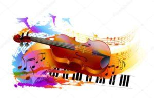 violon sur clavier piano